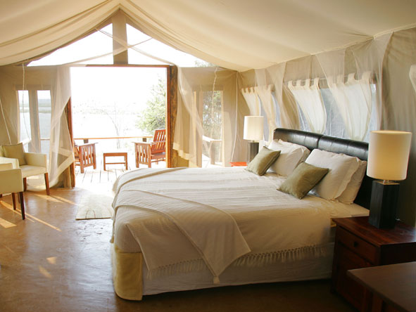 Romantic bedroom suite at Royal Zambezi Lodge