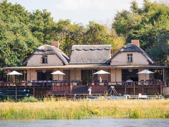 Royal Zambezi Lodge overlooks the zambezi river