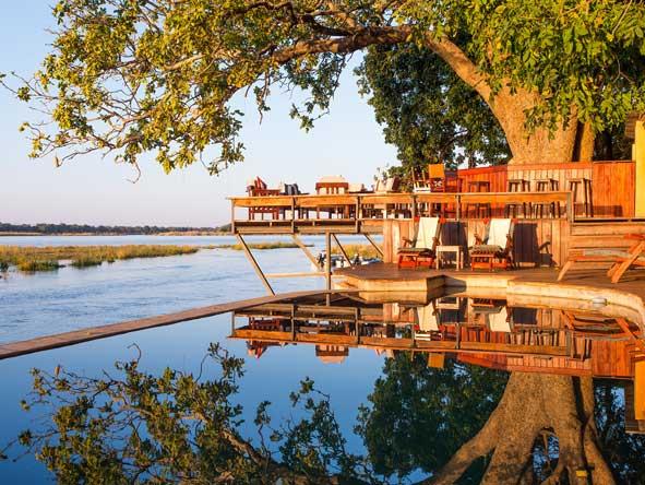 swimming pool and bar deck, Royal Zambezi Lodge