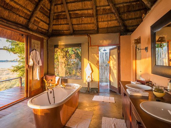 en-suite bathroom, royal zambezi lodge