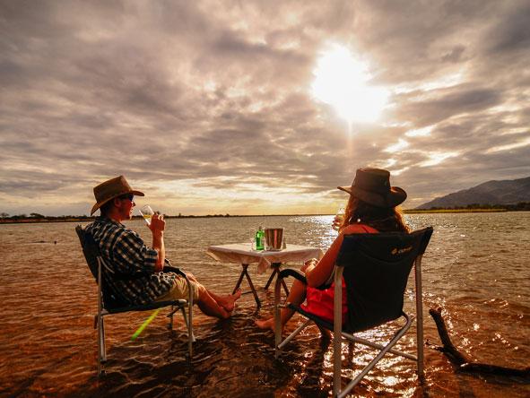 sundowners at Royal Zambezi Lodge