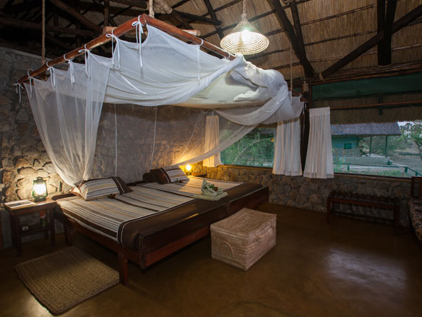 tented bedroom at Mvuu Camp