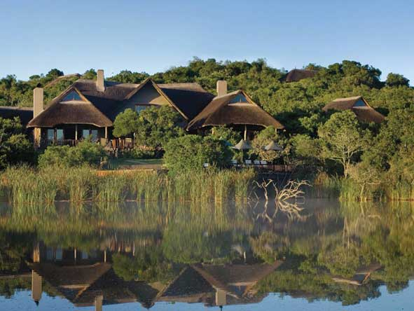 Kichaka Private Game Lodge overlooking a waterhole