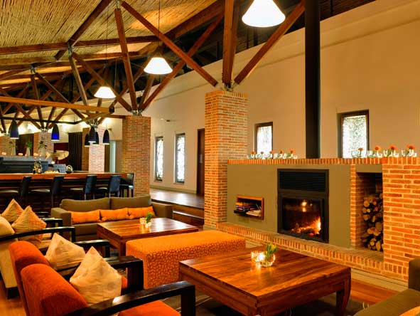 fireplace in the lounge at grootbos forest lodge