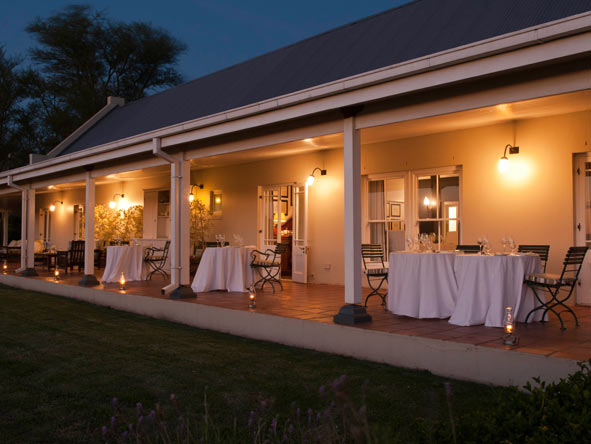 Main terrace at night, River Bend Lodge