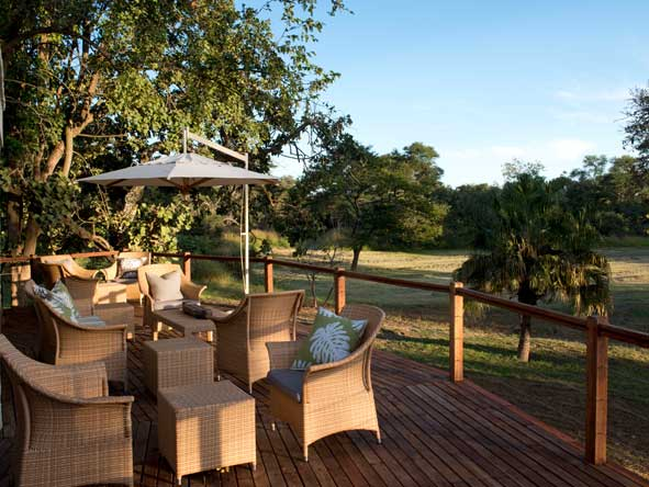 Outdoor deck at Lilayi Lodge, Zambia