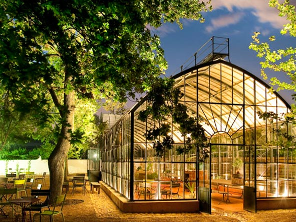 Greenhouse at night, babylonstoren