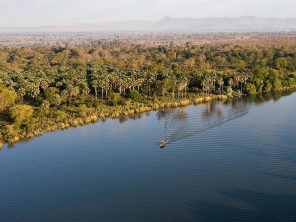 Aerial view of Zambezi River