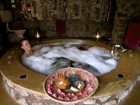 relaxing in a bubble bath