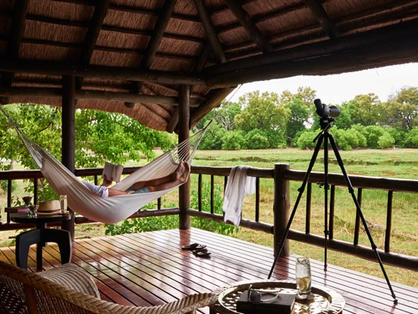 Hammock and views of the okavango delta