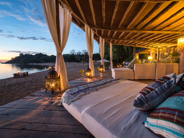 sunset terrace on the beach, lake malawi