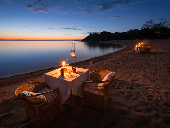 private beach dinner, lake malawi