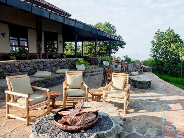 Volcanoes Virunga Lodge, outdoor open fire