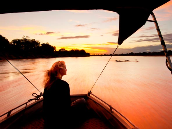 sunset cruise, luangwa river