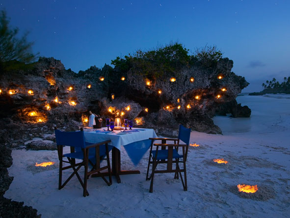 Romantic beach dinner, Zanzibar