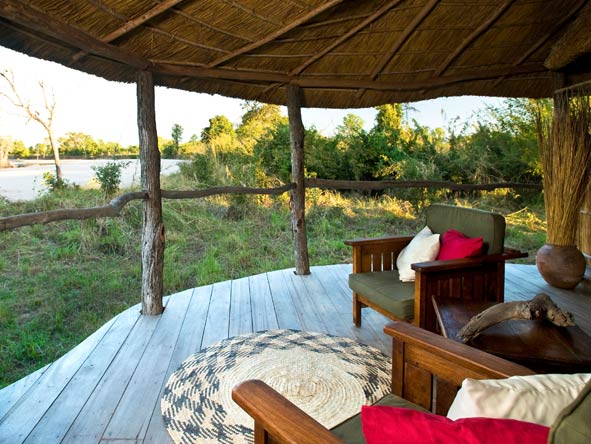 Nsolo Bush Camp, outdoor deck with river views