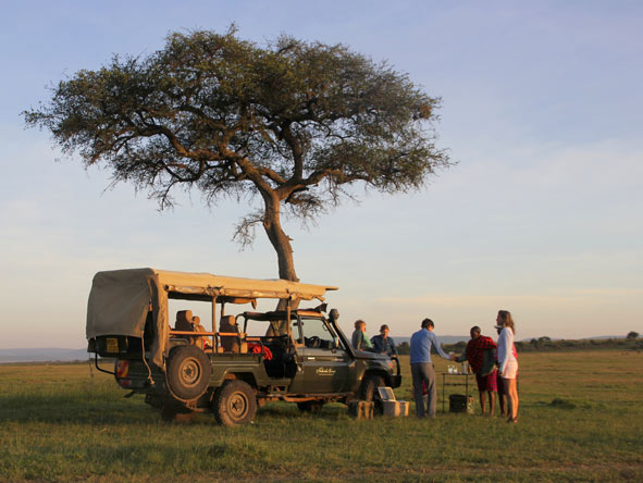 drinks stop on a game drive