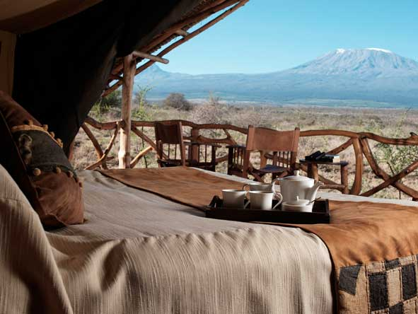 view of Kilimanjaro from Satao Elerai Camp