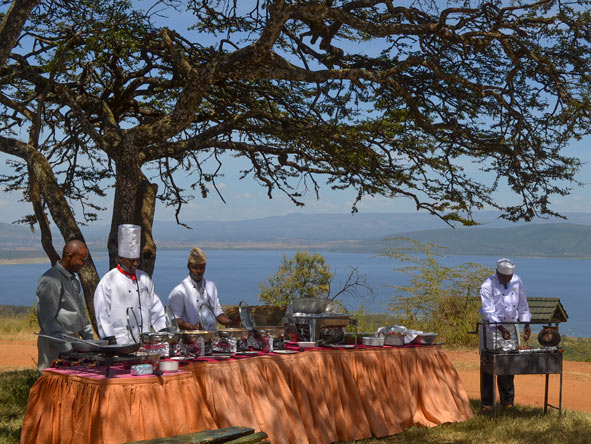 Buffet in Lake Nakuru National Park
