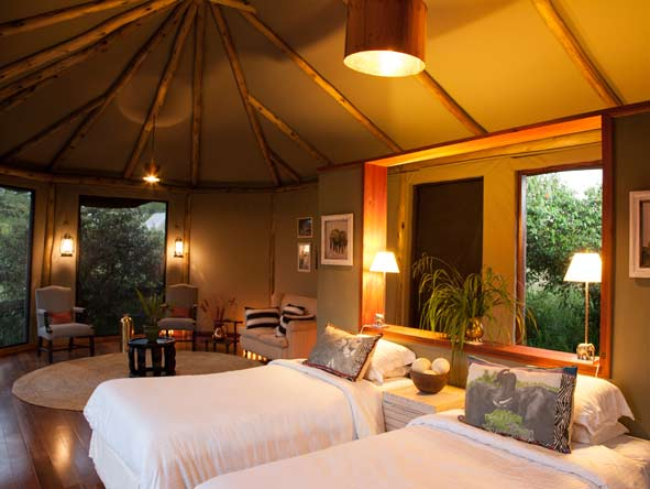 luxury tented bedroom suites at Sala Camp