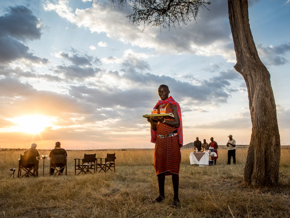 sunset drinks with the maasai people
