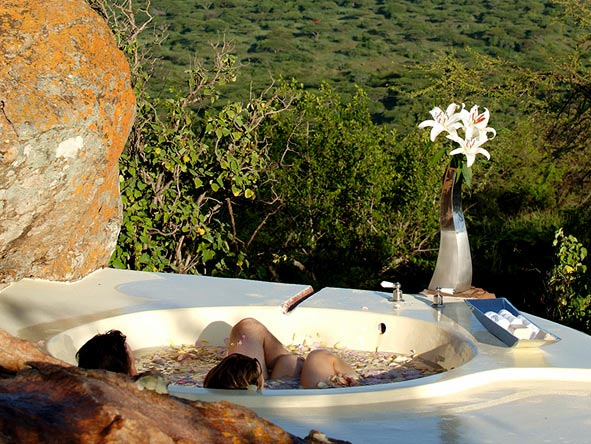 romantic bathtub at the Sanctuary at Ol Lentille