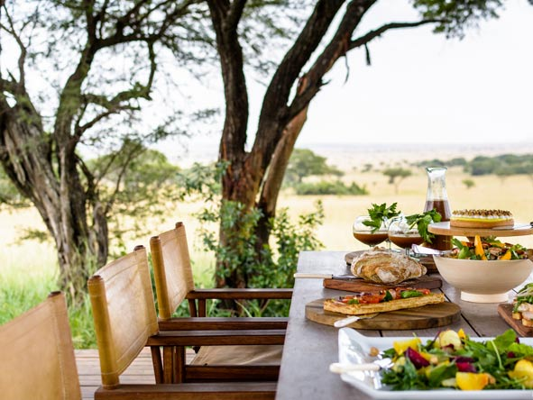 Singita Serengeti House, outdoor lunch