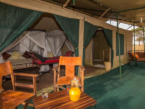 private tent, ndovu camp in Tarangire