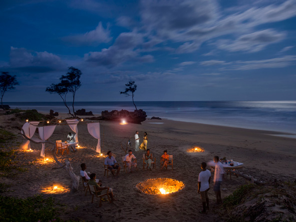 dinner on the beach, mozambique