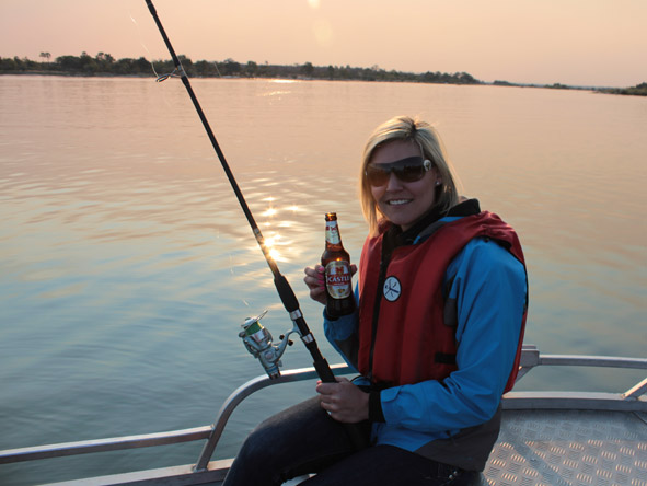 Ashley Groenevelt - drinks and fishing on the Chobe River