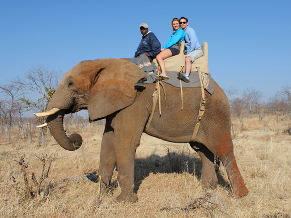 Ashley Groenevelt - elephant back safari at Vic Falls