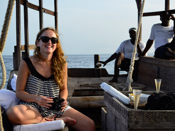 Carlien Parsons - sailing away on a traditional dhow cruise to Mnemba Private Island