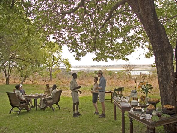 Chobe Chilwero - afternoon tea on the lawn
