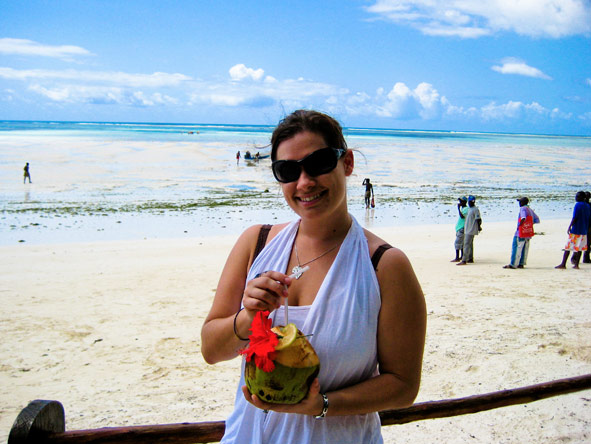 Emma Harrop - cocktails on the beach in Zanzibar