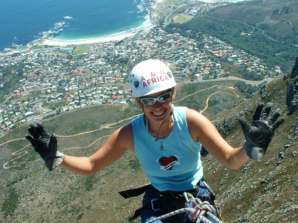 Emma Harrop - abseiling down Table Mountain