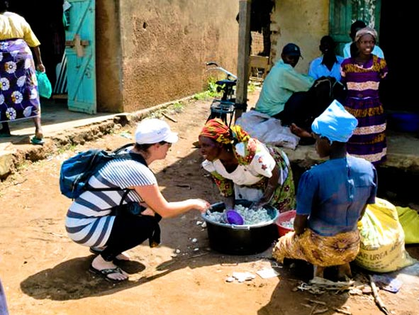 Emma Harrop - meeting the local women in Uganda