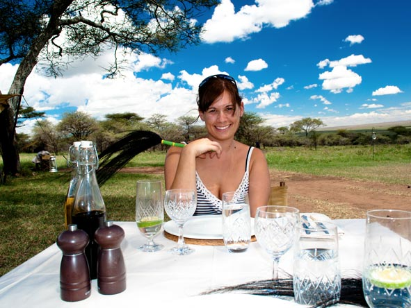 Emma Harrop - lunching with andBeyond at Serengeti Under Canvas, Tanzania