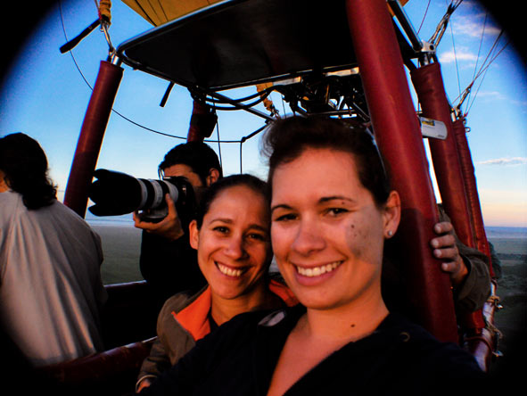 Emma Harrop - enjoying a hot air balloon flight from Fig Tree Camp in the Masai Mara