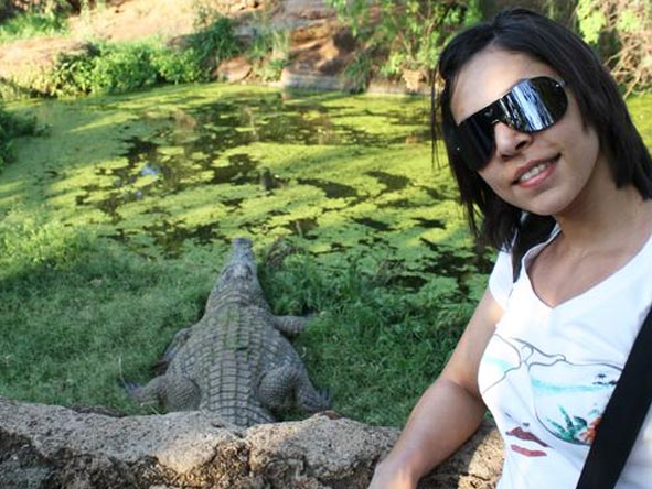 Fatima Davids - visiting the crocodiles at Kamp Kwena, Sun City