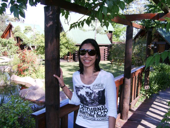 Fatima Davids - relaxing in her Garden Route log cabin