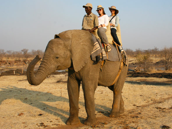 Jehan Begg - out on an elephant back safari with fellow Safari Expert, Mary