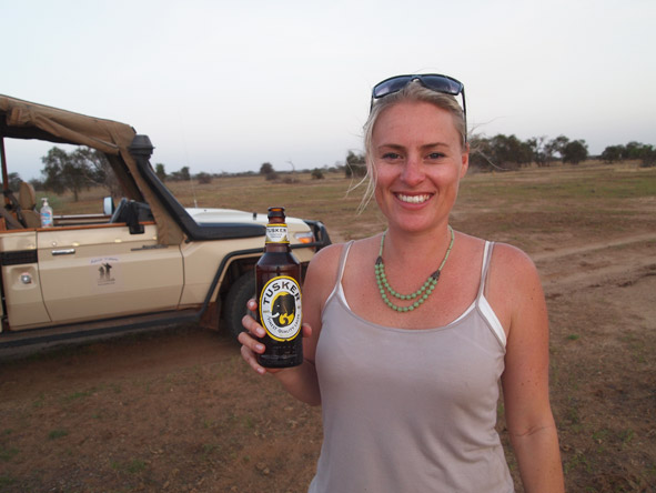 Kate Erskine - enjoying a local beer in Amboseli National Park