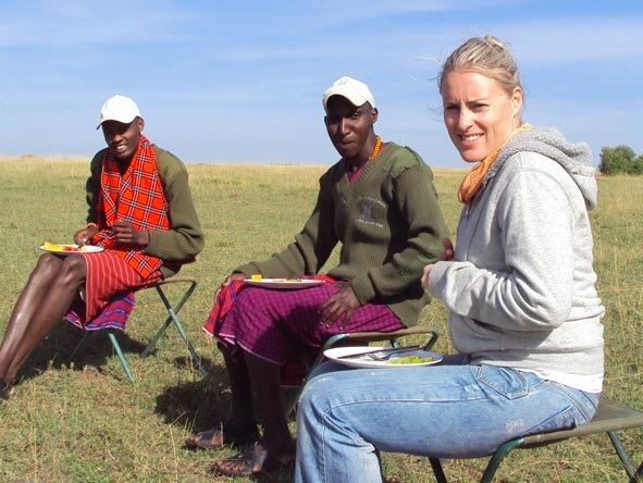 Kate Erskine - midday lunch in the middle of the Masai Mara