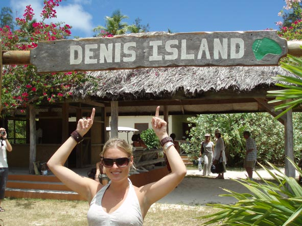 Kate Erskine - just landed on Denis Island in the Seychelles