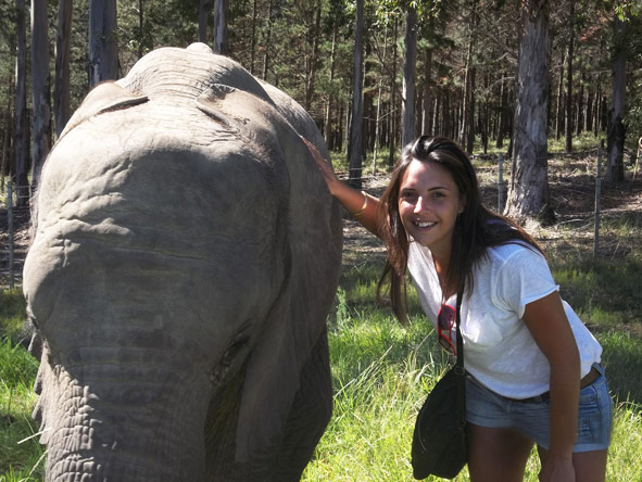 Kelly-Anne Blanchard - meeting one of the locals at Knysna Elephant Park