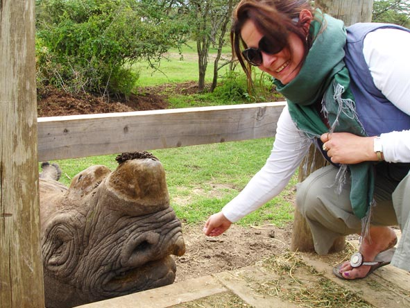Lauren Johansson - meeting blind rhino Baraka just outside Nairobi