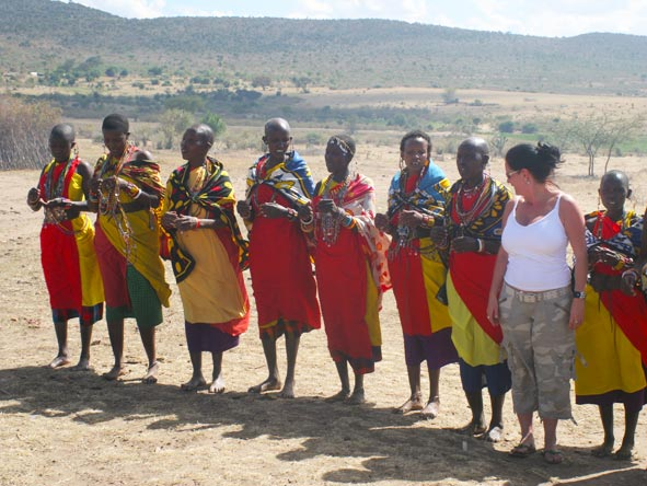 Lauren Johansson - dancing with the local Maasai women