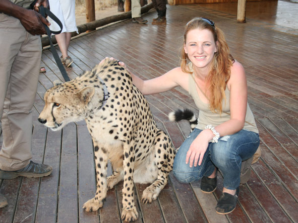 Leanne Rodney - meeting Sylvester the cheetah at Victoria Falls