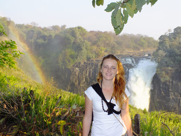 Leanne Rodney - soaking up the spray at Victoria Falls
