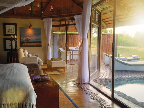 Leopard Hills Private Game Reserve - bedroom and private deck - bedroom view